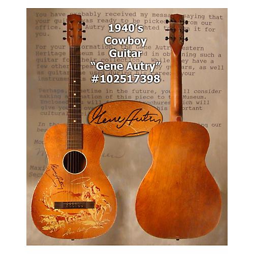 In Store Vintage  Vintage 1940sStencil Gene Autry Signed Natural Acoustic Guitar
