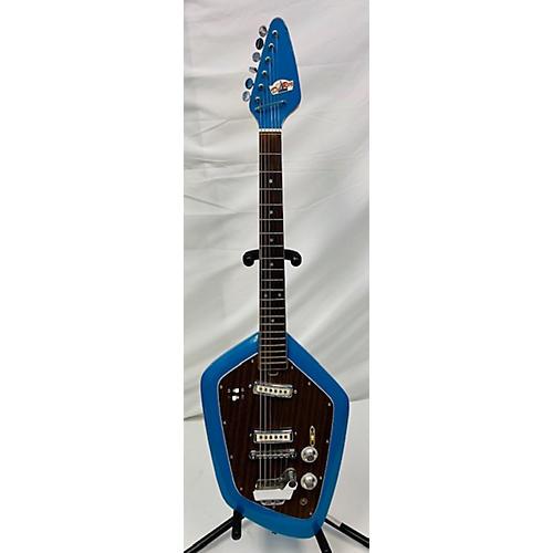 In Store Vintage Vintage 1960s 1960's Teisco Del Rey EV2-T Blue Solid Body Electric Guitar