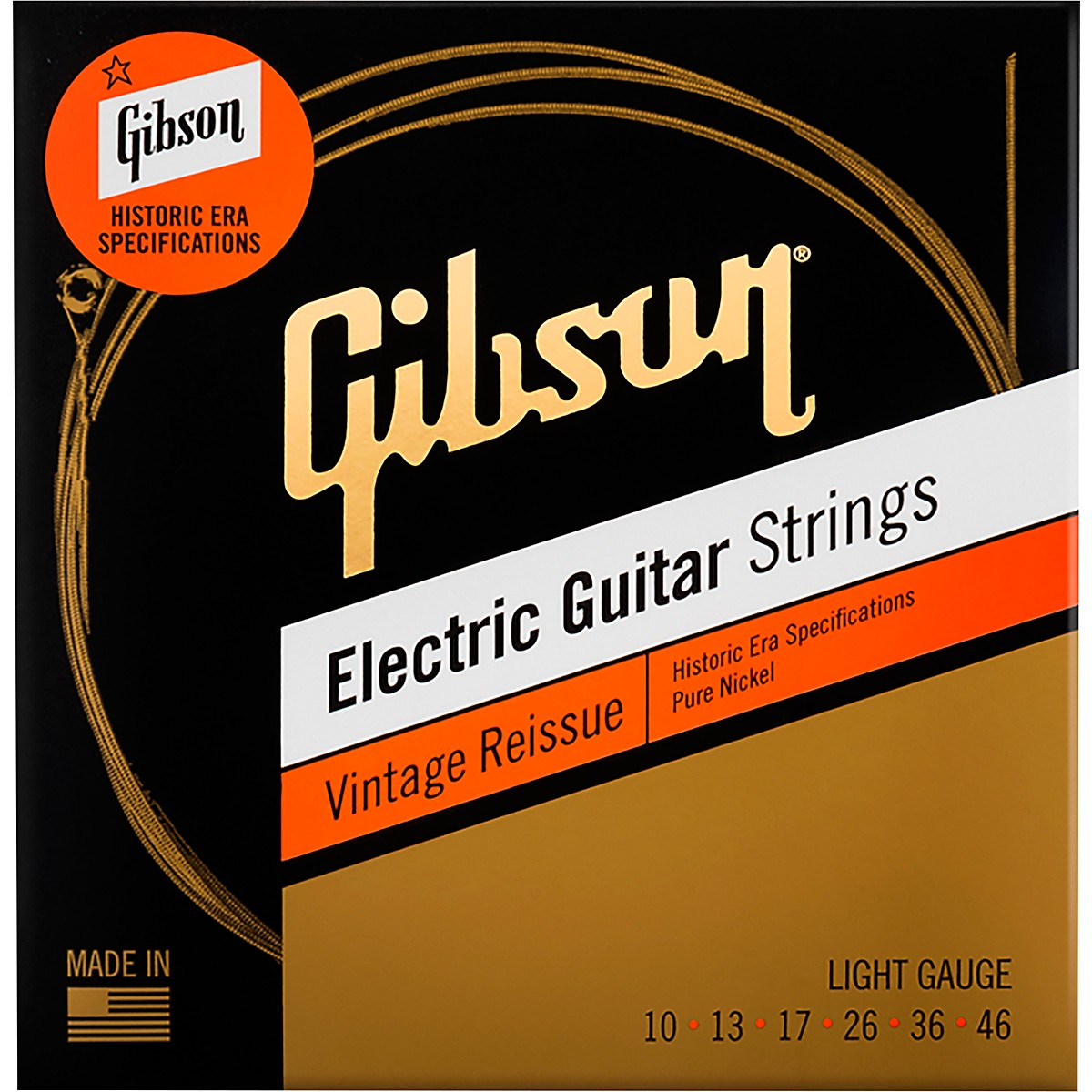 Gibson Vintage Reissue Electic Guitar Strings, Light Gauge