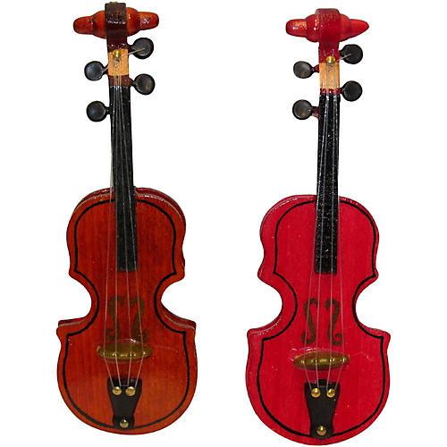 Kurt S. Adler Violin Wood Ornament 2/Assorted