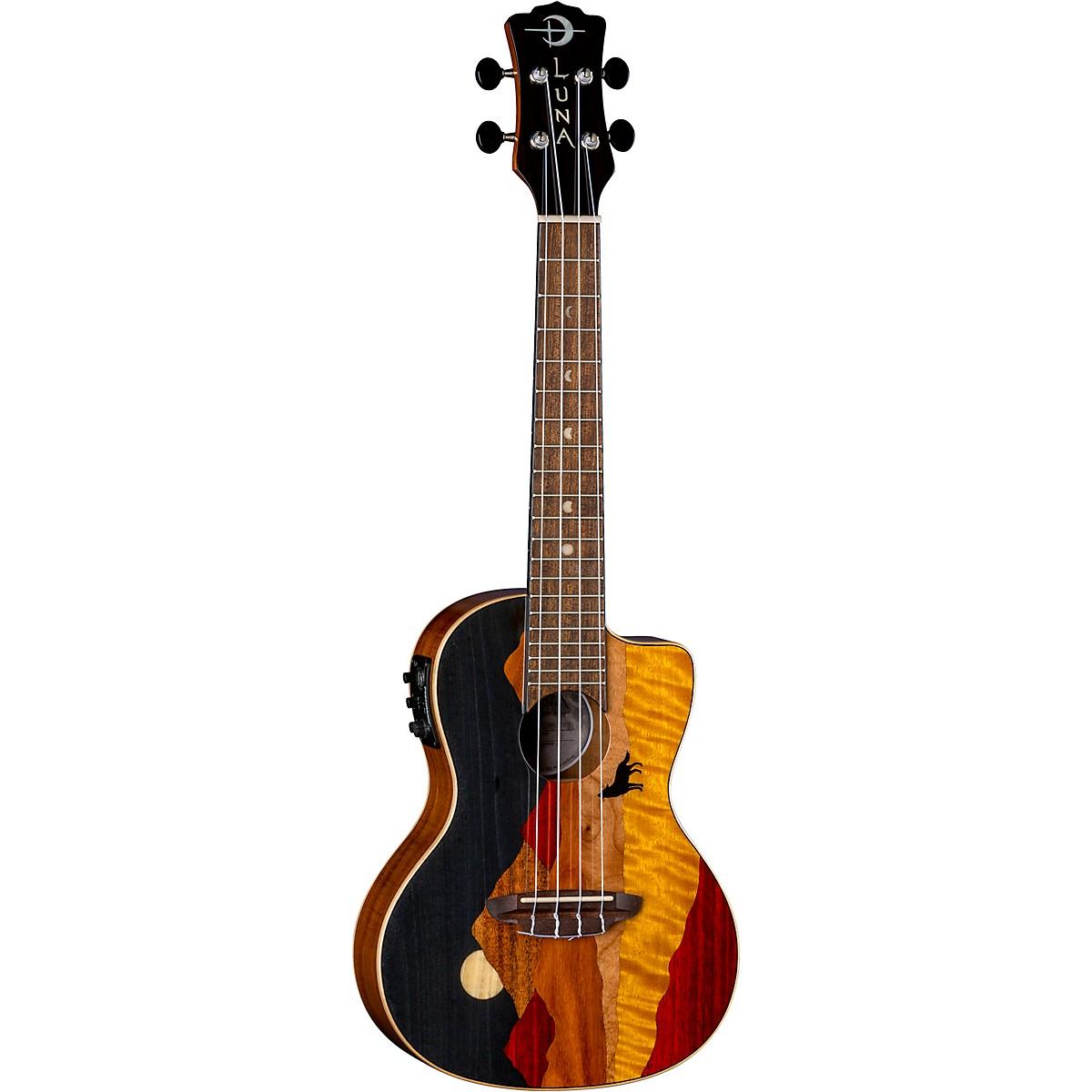 Luna Guitars Vista Wolf Tropical Wood Concert Acoustic-Electric Ukulele