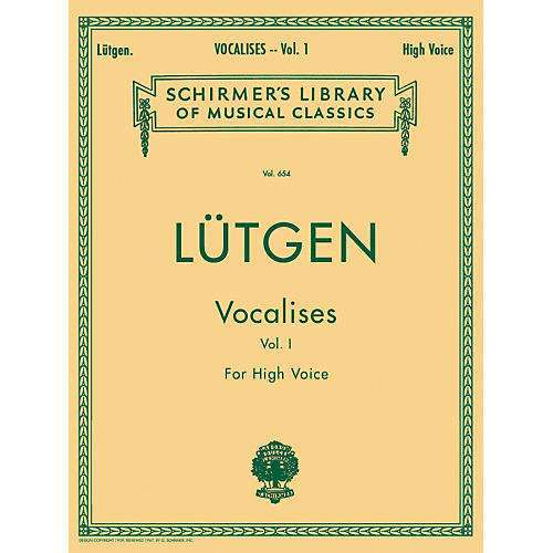 G. Schirmer Vocalises (20 Daily Exercises) - Book I for High Voice By L¼tgen