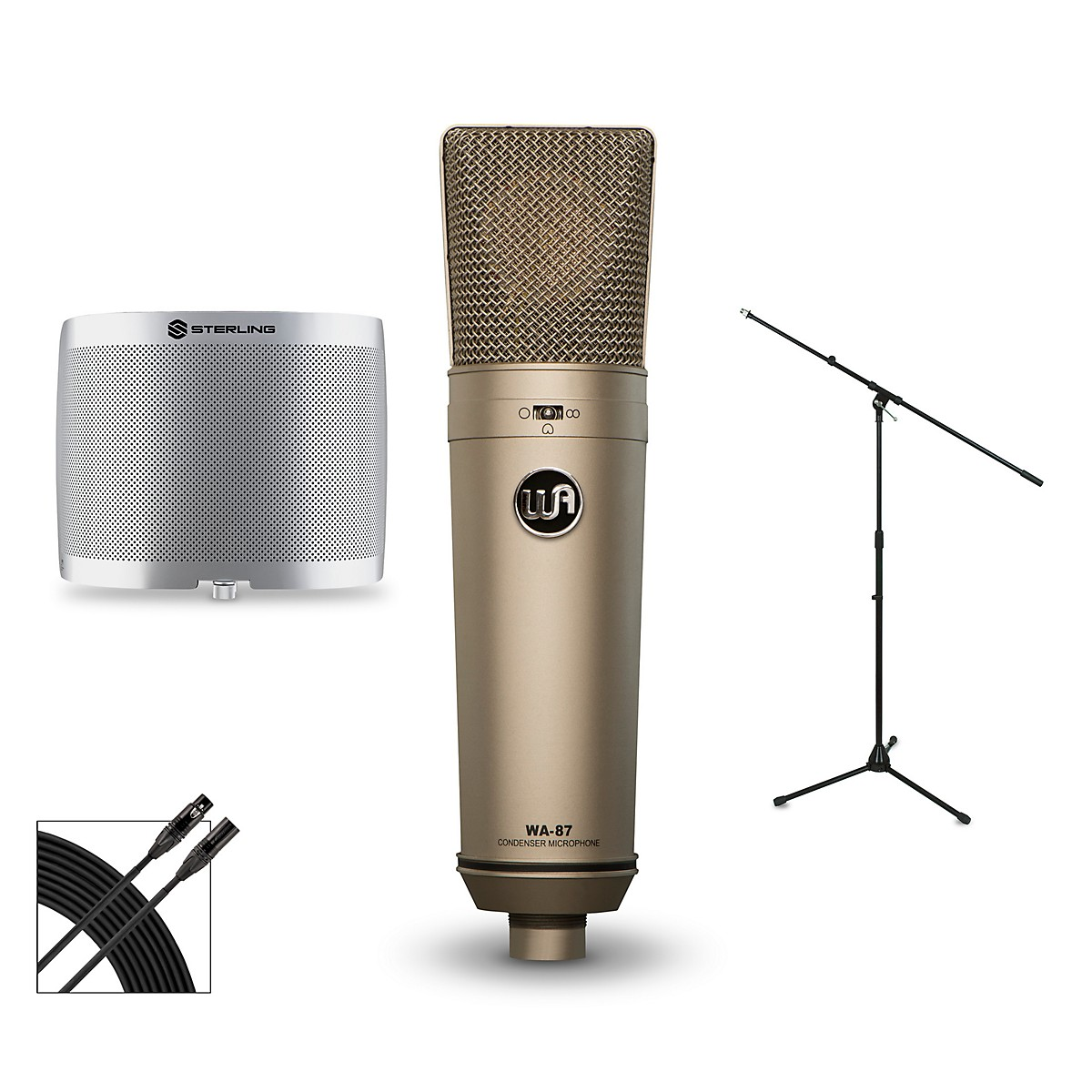 Warm Audio WA-87 Package with Sterling Audio Vocal Microphone Shield