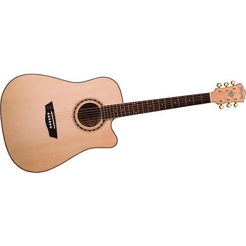 Washburn WD40SCE Solid Sitka Spruce Top Acoustic Cutaway Electric Dreadnought Flame Maple Guitar with Fishman Preamp And Tuner