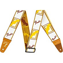 WeighLess Monogram Guitar Strap White, Brown, and Yellow 2 in.