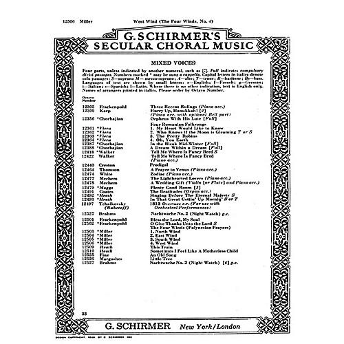 G. Schirmer West Wind 4 Winds No4 - A Cappella (Polynesian Prayers) SATB composed by D Miller