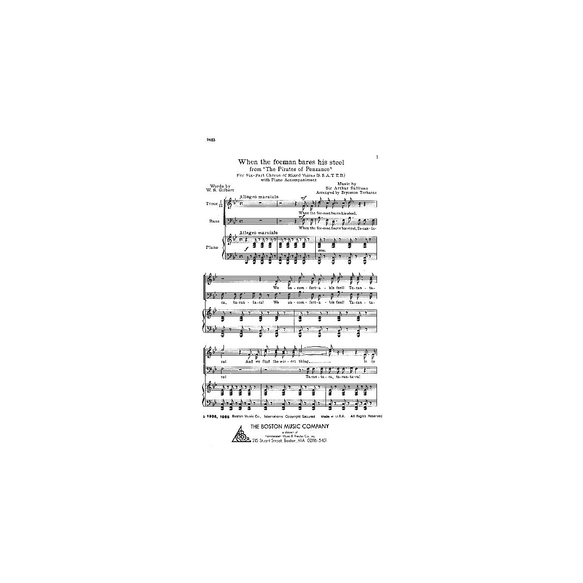Boston Music When the Foeman Bares His Steel SSATTB Composed by Sir Arthur Sullivan