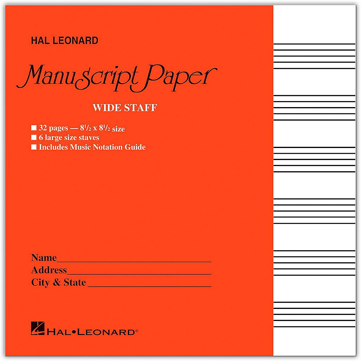 Hal Leonard Wide Staff Manuscript Paper (Red Cover)