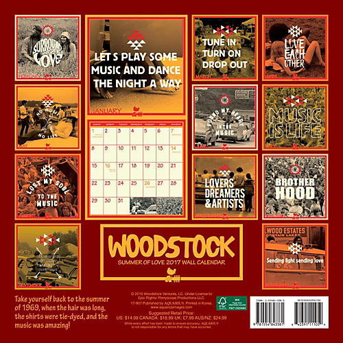 Browntrout Publishing Woodstock 2017 12x12 NMR Calendar
