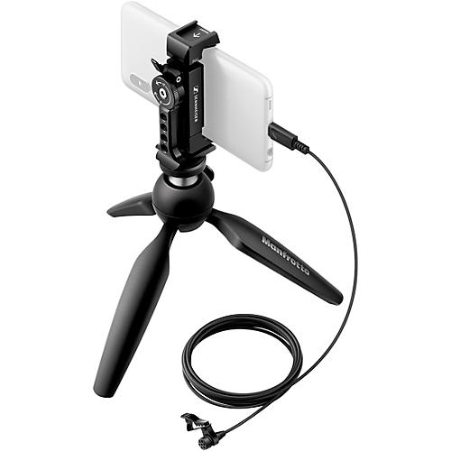 Sennheiser XS LAV USB-C MOBILE KIT - Includes XS Lav USB-C Clip-on Lavalier Microphone, Manfrotto PIXI Mini Tripod and Sennheiser Smartphone Clamp
