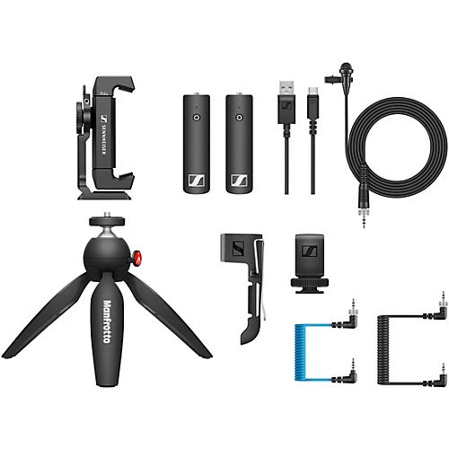Sennheiser XSW-D PORTABLE LAV MOBILE KIT - Includes XSW-D Portable Lavalier Set, Manfrotto PIXI Mini Tripod and Sennheiser Smartphone Clamp
