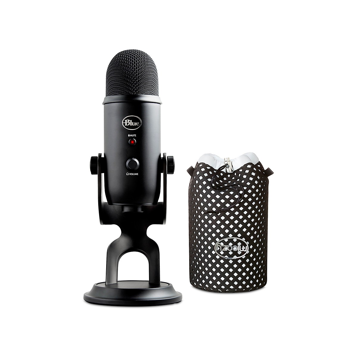 Blue Yeti Blackout Studio Black Bundle w/ Jupiter Micozy Mic Cover