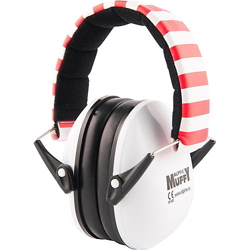 Alpine Hearing Protection (ea) Earmuffs for kids (White & Red)